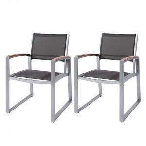 Set de 2 scaune de gradina Ava aluminiu/ textil, gri, 56 x 84 x 66 cm