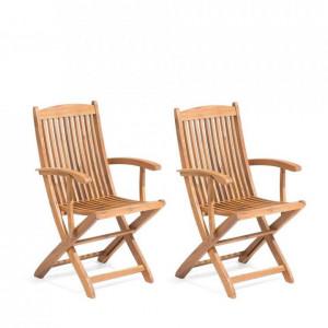 Set de 2 scaune de gradina Maui din lemn masiv, 93 x 42 cm