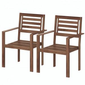 Set de 2 scaune de gradina Mimo lemn masiv salcam, maro, 58 x 85 x 54 cm