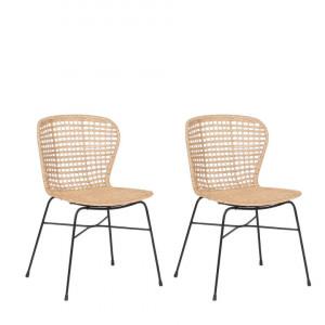 Set de 2 scaune din ratan ELFROS, Nisipiu/bej, 83 x 56 x 49 cm