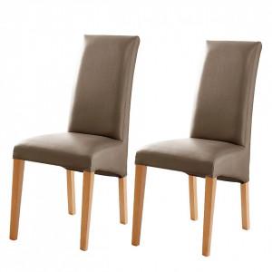 Set de 2 scaune Foxa, piele sintetica,  cappucino