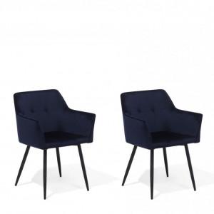 Set de 2 scaune JASMIN, catifea, albastru închis, 84 x 60 x 49 cm