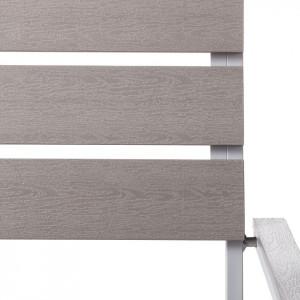 Set de 2 scaune Kudo IV din aluminiu si lemn masiv, argintiu