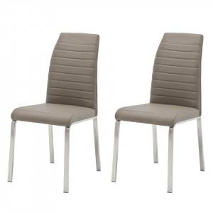 Set de 2 scaune Levittown imitatie piele/metal, gri, 44 x 100 x 64 cm