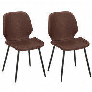 Set de 2 scaune Louis, piele, maro, 44 x 82 x 58 cm