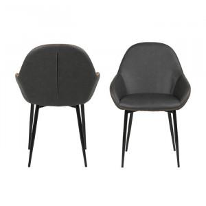 Set de 2 scaune Marnie, gri, 85 x 60 x 57,5 cm