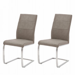 Set de 2 scaune Palmyra poliuretan/metal, gri, 44 x 98 x 65 cm