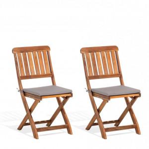 Set de 2 scaune rabatabile CENTO din lemn de salcam