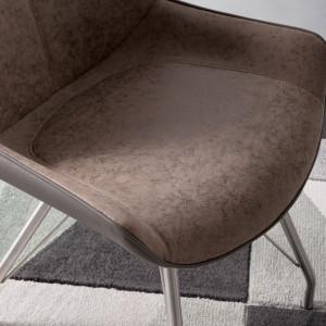 Set de 2 scaune Saval cu cadru metalic si tapiterie din piele sintetica, maro