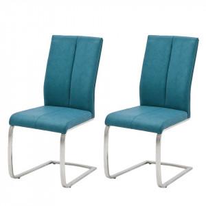 Set de 2 scaune Sayreville II piele sintetica/metal, albastru, 44 x 100 x 63 cm