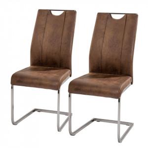 Set de 2 scaune Scalea imitatie piele/metal, maro, 43 x 102 x 58 cm