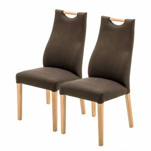 Set de 2 scaune Spofford II piele sintetica/lemn stejar, maro, 47 x 104 x 44 cm