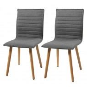 Set de 2 scaune tapitate Kean I tesatura/lemn, gri deschis, 44 x 88 x 55.5 cm