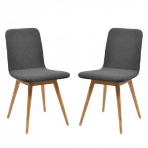 Set de 2 scaune tapitate Loca tesatura, stejar, gri, 45 x 85 x 60 cm