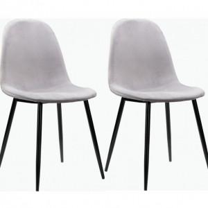 Set de 2 scaune tapitate Monza Eadwine catifea/metal, gri, 44x52x87 cm