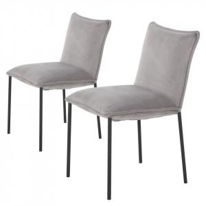 Set de 2 scaune tapitate Vail, catifea, gri