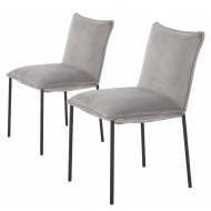 Set de 2 scaune tapitate Vail, catifea/metal, gri/negru, 82 x 56 x 46 cm