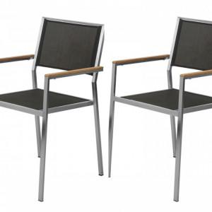 Set de 2 scaune Teakline Premium I textile/otel inoxidabil/lemn masiv, negru, 55 x 86 x 58 cm