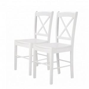 Set de 2 scaune Trion I (2er-Set) din lemn de cauciuc - alb