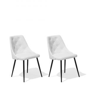 Set de 2 scaune VALERIE, metal/piele ecologica, albe, 49 x 59 x 81 cm
