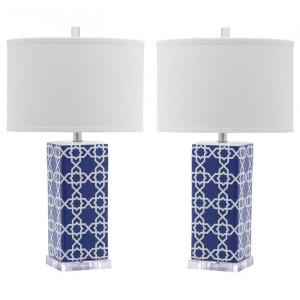 Set de 2 veioze Kimberly, ceramica/ bumbac, alb/albastru, 68,58 x 38 x 38 cm
