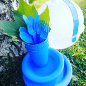 Set de 26 piese pentru picnic Tesco, albastru/ mov, plastic
