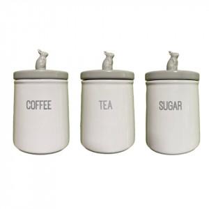 Set de 3 recipiente pentru ceai, cafea, zahar Tesco