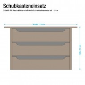 Set de 3 sertare 110 cm pentru dressing pentru adâncimea dulapului de 57-62 cm