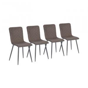 Set de 4 scaune Candelaria, maro/gri, 86,5 x 43 x 46,5 cm