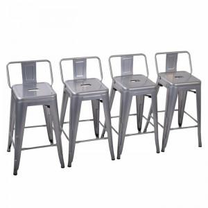 Set de 4 scaune de bar Glenn, argintiu, 83,05 x 39,87 x 39,87 cm