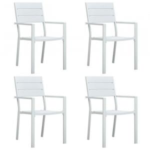 Set de 4 scaune de gradina Kempson, alb, 88,5 x 62 x 55,5 cm