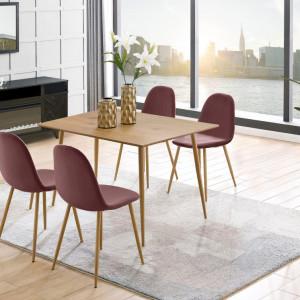 Set de 4 scaune Monza Eadwine, catifea/metal, roz prafuit, 44x52x87 cm