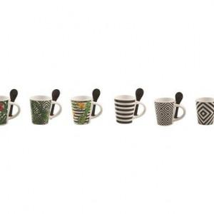 Set de 6 căni de cafea Tropicana cu linguriță