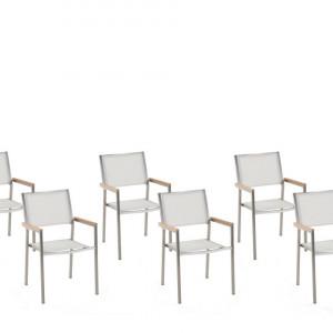 Set de 6 scaune de gradina Grosseto, argintii/albe, 55 x 58 x 87 cm