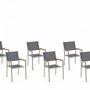 Set de 6 scaune de gradina Grosseto, gri/argintiu, 55 x 58 x 87 cm