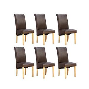 Set de 6 scaune de living Cambridge, piele sintetica maro, picioare lemn natur