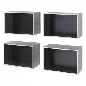 Set de etajere Workbase pal, argintii, 52 x 34 x 26 cm