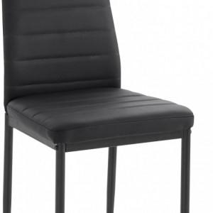 Set de living Danny/Sandy 4 scaune si o masa, sticla/metal, piele sintetica/metal, negru/negru