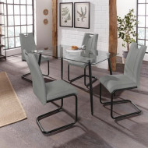Set de living Home Affaire, masa cu blat de sticla si scaune din piele ecologica