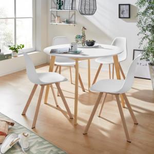 Set de living Veneto / Cody masa + 4 scaune, MDF/plastic, alb, diamentru 105 cm