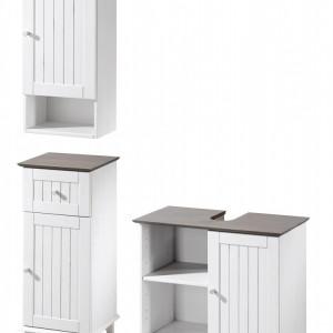 Set de mobilier pentru baie Venezia Landhaus, alb/gri, lemn masiv de pin