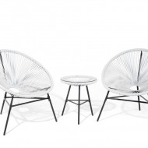 Set de o masa si 2 scaune Acapulco, alb/negru