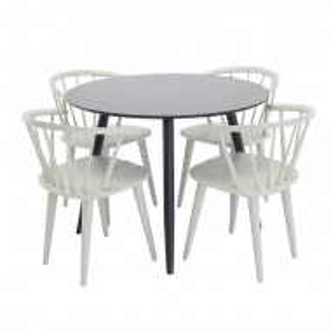 Set de o masa si 4 scaune Metzger, metal / lemn masiv
