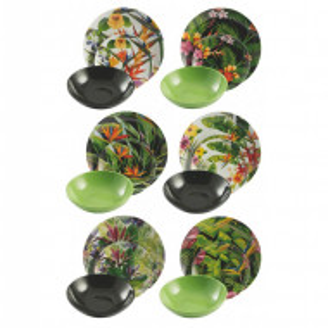 Set de vase Tropical Jungle, pentru 6 persoane, verde/negru/multicolor