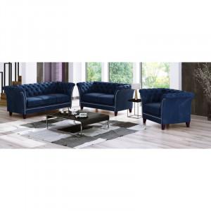 Set living 2 canapele si 1 fotoliu Legault, lemn masiv, albastru