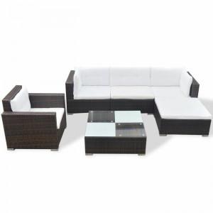 Set lounge Lynette, maro/crem, lemn/ratan