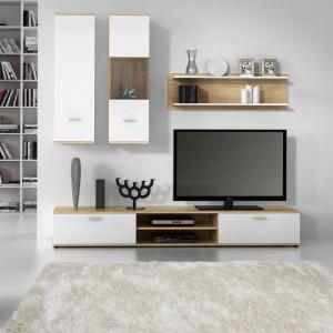 Set mobila living Grinda, 4 piese, PAL, alb, 200 x 195 x 38 cm