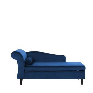 Sezlong Luiro, catifea, albastru, 160 x 70 x 77 cm