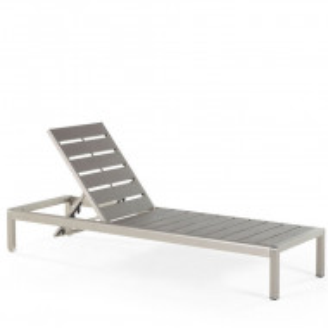Sezlong Nardo, gri/argintiu, 64 x 198 x 93 cm
