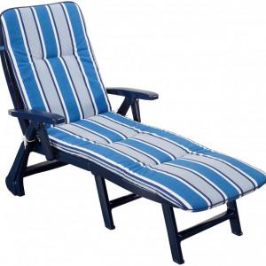 Sezlong reclinabil Kansas, albastru/alb, 72 x 64 x 189 cm